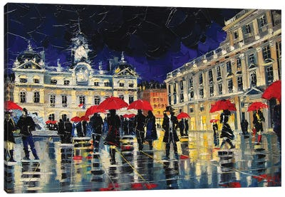 The Rendezvous Of Terreaux Square In Lyon Canvas Art Print