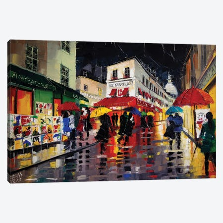 The Umbrellas Of Montmartre 3-Piece Canvas #MGE88} by Mona Edulesco Canvas Art