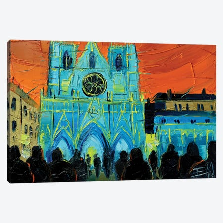 Urban Story - The Festival Of Lights In Lyon Canvas Print #MGE97} by Mona Edulesco Canvas Artwork