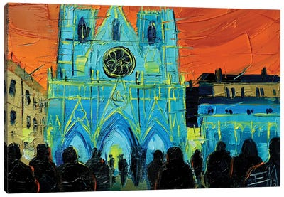 Urban Story - The Festival Of Lights In Lyon Canvas Art Print