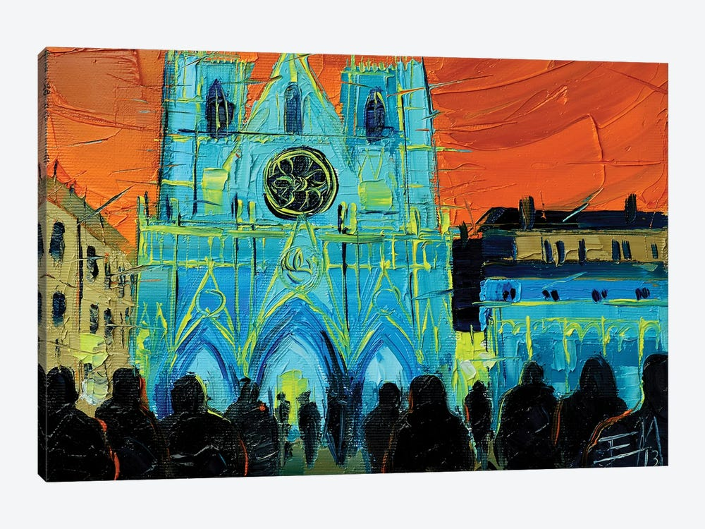 Urban Story - The Festival Of Lights In Lyon by Mona Edulesco 1-piece Canvas Art Print