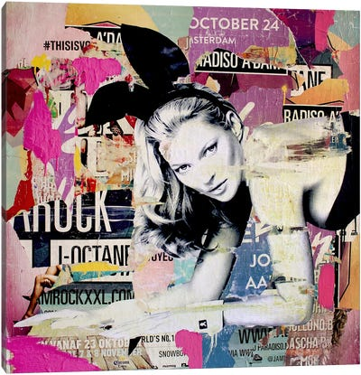 Kate Moss Playin' Bad Bunny Canvas Print #MGF13