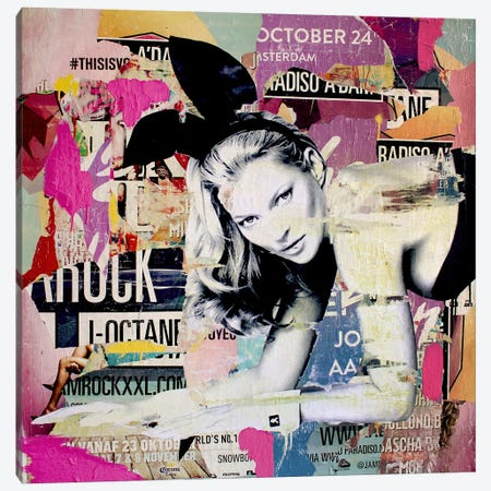 Kate Moss Playin' Bad Bunny Canvas Print #MGF13} by Michiel Folkers Canvas Artwork