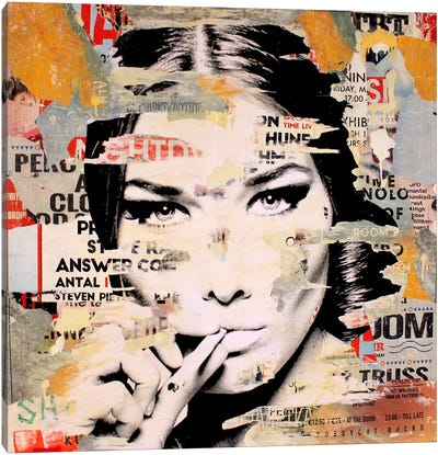 Carla Bruni Is Smoking Hot II Canvas Print #MGF25
