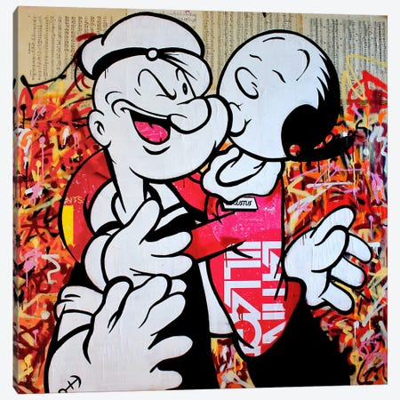 I Love Popeye Canvas Print #MGF29} by Michiel Folkers Canvas Print