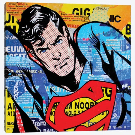 Superman Canvas Print #MGF37} by Michiel Folkers Canvas Art Print