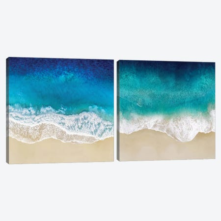 Aqua Ocean Waves Diptych Canvas Print Set #MGG2HSET001} by Maggie Olsen Canvas Art
