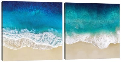Aqua Ocean Waves Diptych Canvas Art Print