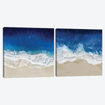 Indigo Ocean Waves Diptych Canvas Print Set #MGG2HSET002} by Maggie Olsen Canvas Wall Art