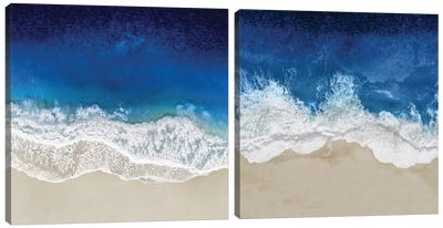 Indigo Ocean Waves Diptych Canvas Art Print