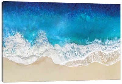 Aqua Ocean Waves From Above Canvas Art Print