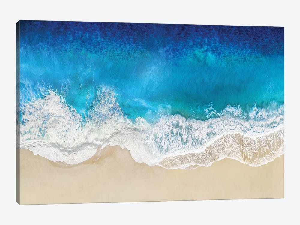 Aqua Ocean Waves From Above by Maggie Olsen 1-piece Canvas Wall Art