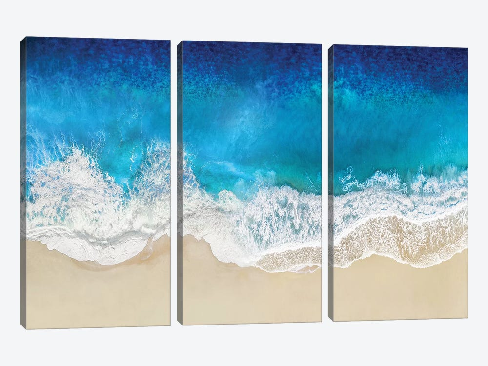 Aqua Ocean Waves From Above by Maggie Olsen 3-piece Canvas Wall Art
