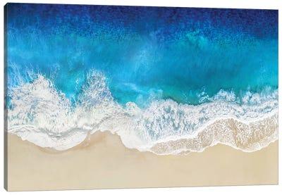 Aqua Ocean Waves From Above Canvas Art Print
