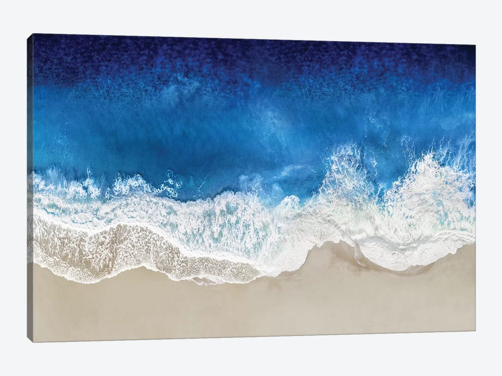 Indigo Waves From Above I 1-piece Canvas Artwork