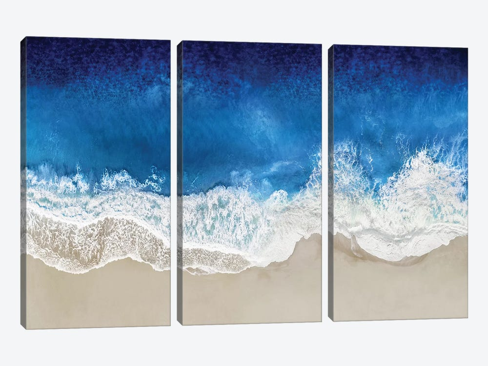 Indigo Waves From Above I by Maggie Olsen 3-piece Canvas Art