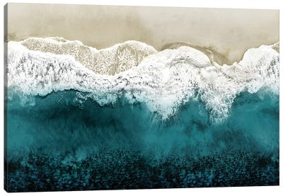 Teal Ocean Waves From Above II Canvas Art Print