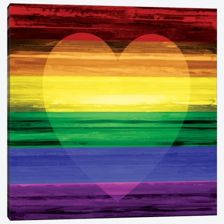 Rainbow Heart Canvas Print #MGG6} by Maggie Olsen Canvas Art Print
