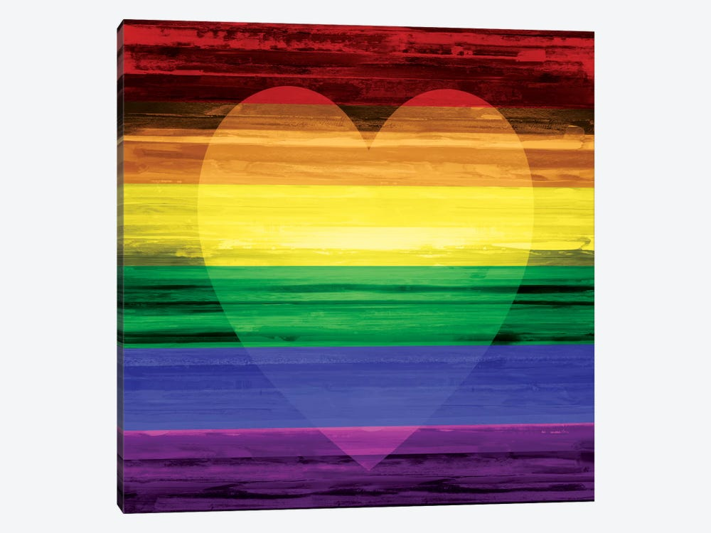 Rainbow Heart by Maggie Olsen 1-piece Canvas Wall Art
