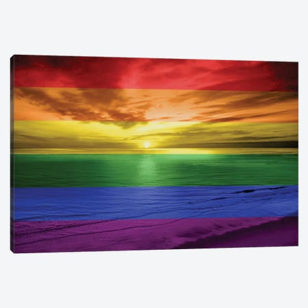 Rainbow Sunset Canvas Print #MGG7} by Maggie Olsen Canvas Art Print