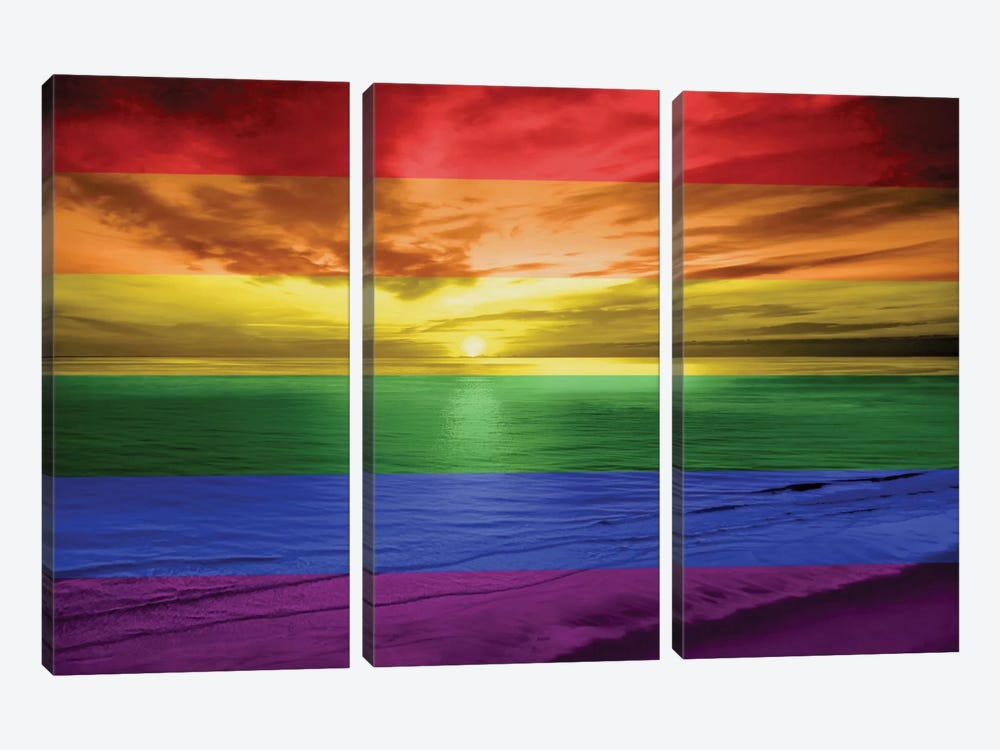 Rainbow Sunset by Maggie Olsen 3-piece Canvas Print