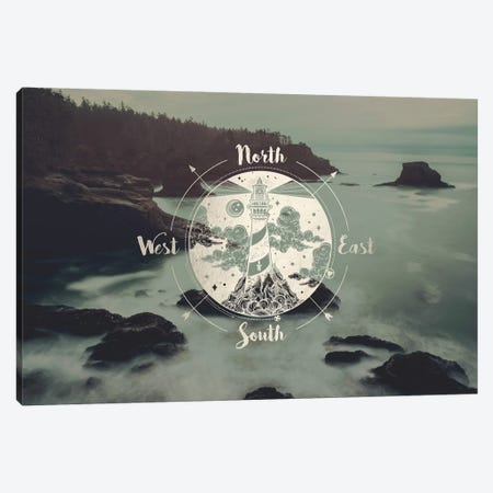Ocean Fog Forest Pacific Northwest Beach Compass With Lighthouse Gold Adventure Nature Canvas Print #MGK100} by Nature Magick Art Print