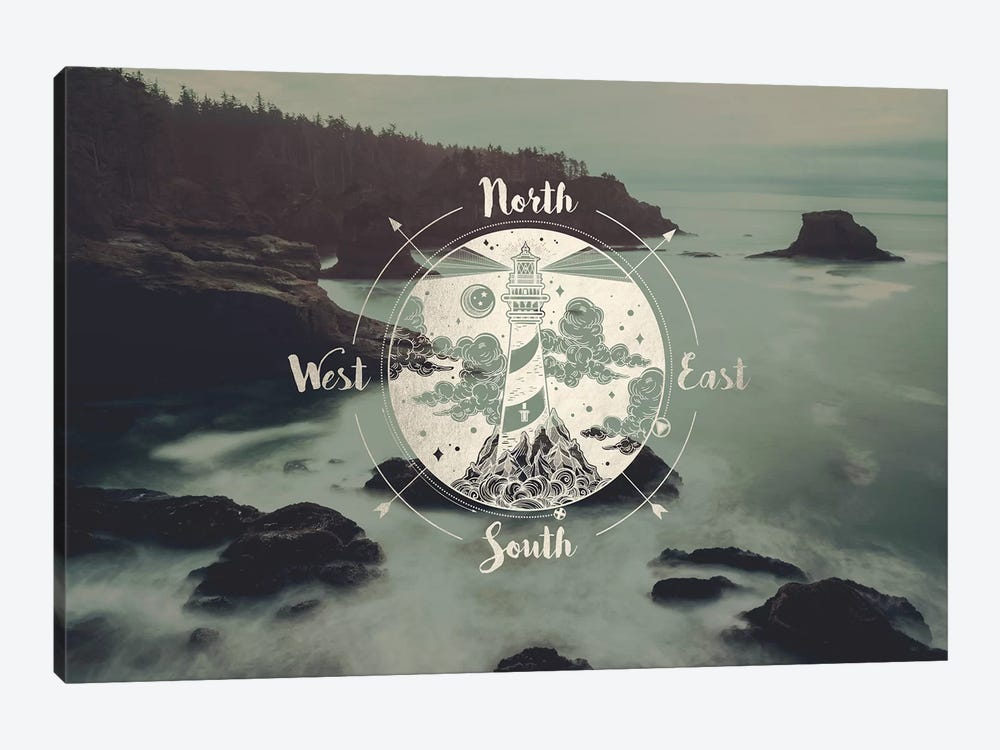 Ocean Fog Forest Pacific Northwest Beach Compass With Lighthouse Gold Adventure Nature by Nature Magick 1-piece Canvas Print