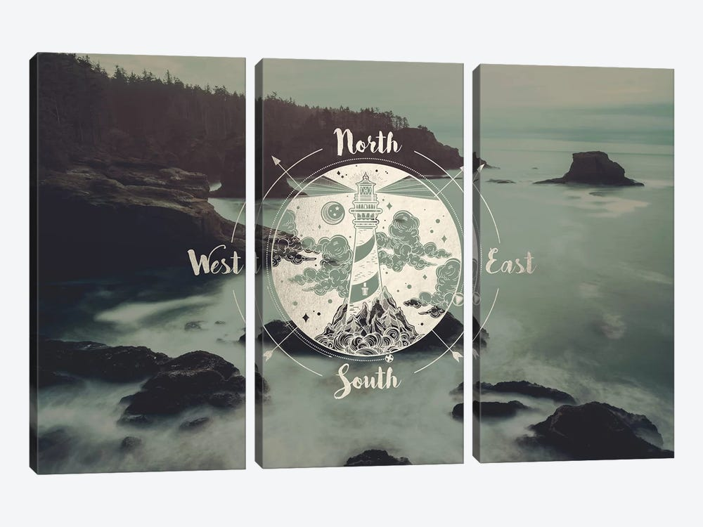 Ocean Fog Forest Pacific Northwest Beach Compass With Lighthouse Gold Adventure Nature by Nature Magick 3-piece Canvas Print