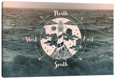 Ocean Sunset Sea Compass Canvas Art Print