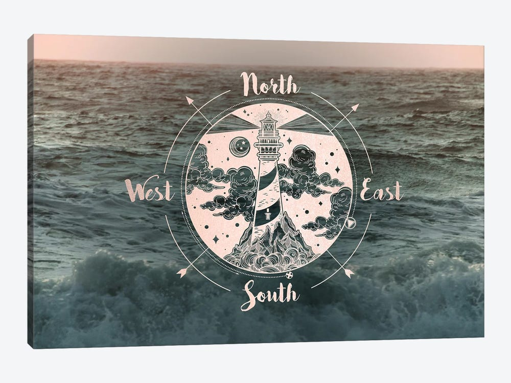 Ocean Sunset Sea Compass by Nature Magick 1-piece Canvas Art