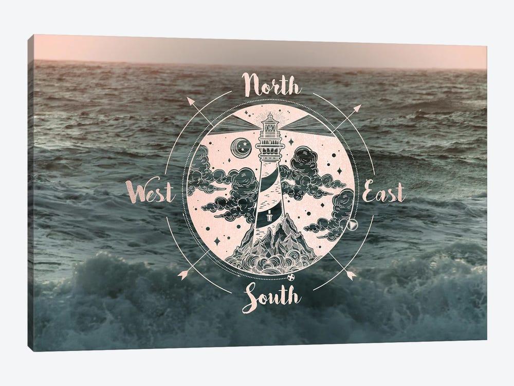 Ocean Sunset Sea Compass by Nature Magick 1-piece Canvas Art