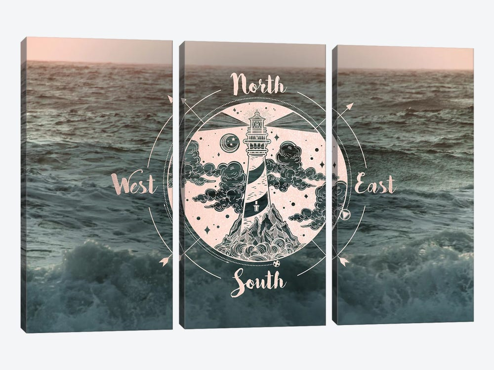 Ocean Sunset Sea Compass by Nature Magick 3-piece Canvas Wall Art