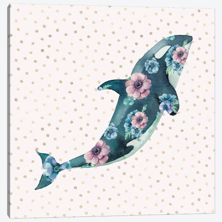 Pink And Blue Whale Ocean Floral Canvas Print #MGK106} by Nature Magick Canvas Artwork