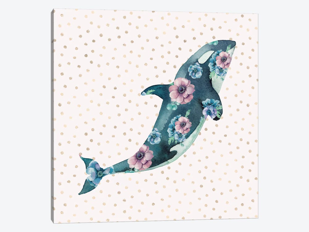 Pink And Blue Whale Ocean Floral Roses With Gold Polka Dots On Beach Nautical Cream by Nature Magick 1-piece Art Print