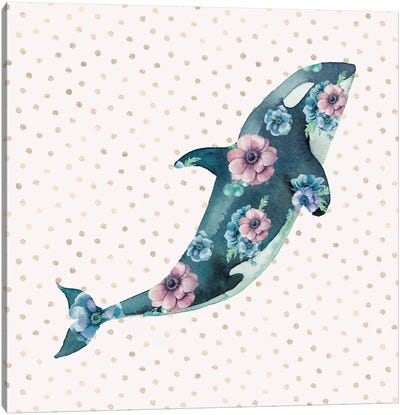 Pink And Blue Whale Ocean Floral Canvas Art Print