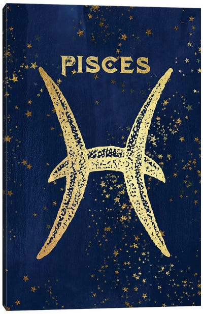 Pisces Zodiac Sign In Gold Copper Bronze On Navy Blue Night Sky With Astrological Stars Canvas Art Print