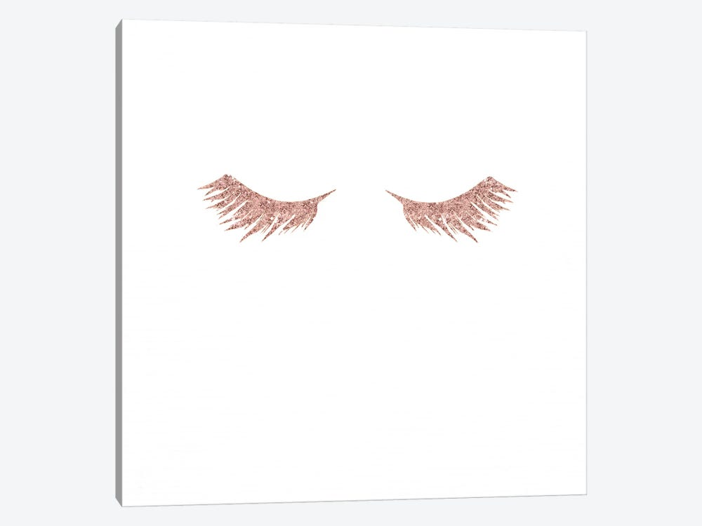 Pretty Lashes Rose Gold Glitter Pink Eyelashes On White Minimalist Fashion by Nature Magick 1-piece Canvas Print
