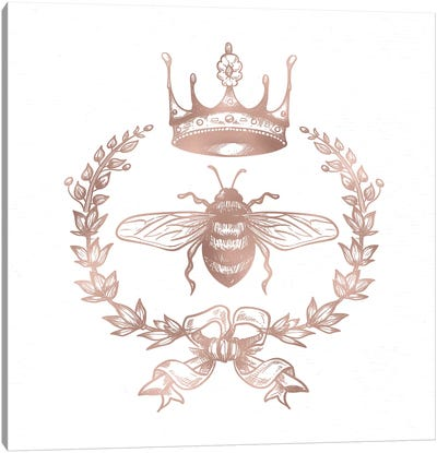 Queen Bee Rose Gold Bumblebee Symbol Pink Crown Royalty Wreath On White Canvas Art Print