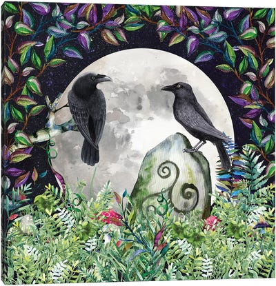 Raven Night Moon Magick Canvas Art Print