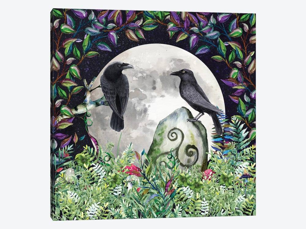 Raven Night Moon Magick With Irish Celtic Triskele Symbol And Witch Wiccan Forest by Nature Magick 1-piece Canvas Wall Art