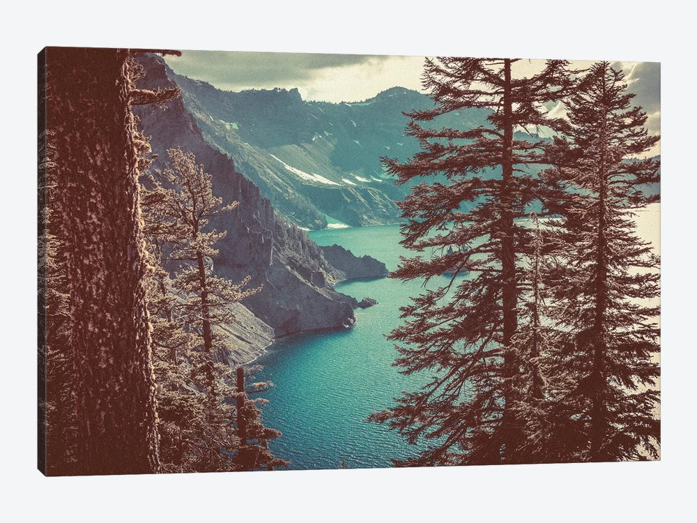 Retro Crater Lake Oregon, Pacific Northwest by Nature Magick 1-piece Canvas Art Print