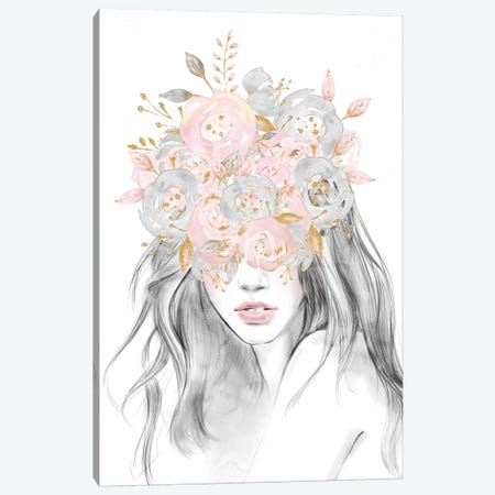 Rose Gold Flower Girl With Pink Glitter Flowers Over Her Eyes Floral Head Covering Canvas Print #MGK112} by Nature Magick Canvas Wall Art
