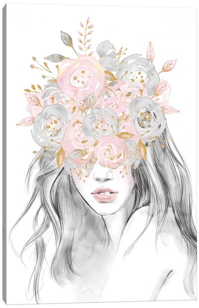 Rose Gold Flower Girl With Pink Glitter Flowers Over Her Eyes Floral Head Covering Canvas Art Print