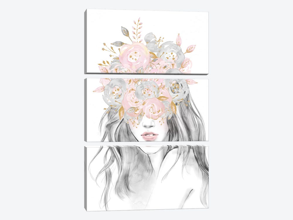 Rose Gold Flower Girl 3-piece Canvas Wall Art