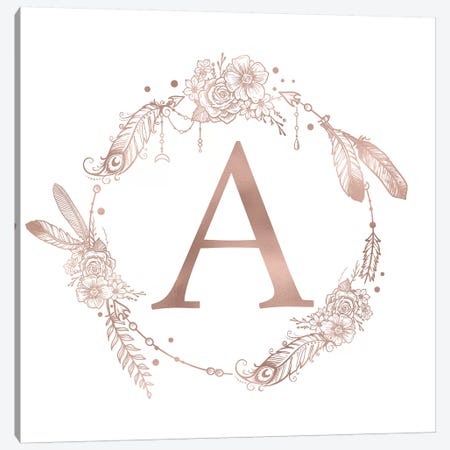 Rose Gold Monogram Letter A Pink Boho Bohemian Feather Floral Personalized Alphabet Initial On White Canvas Print #MGK113} by Nature Magick Canvas Artwork