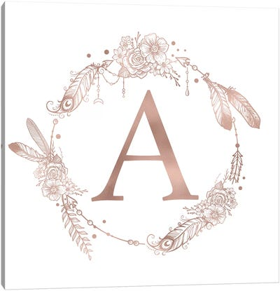 Rose Gold Monogram Letter A Pink Boho Bohemian Feather Floral Personalized Alphabet Initial On White Canvas Art Print