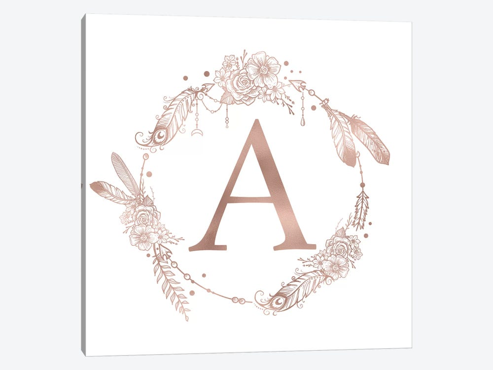 Rose Gold Monogram Letter A Pink Boho Bohemian Feather Floral Personalized Alphabet Initial On White by Nature Magick 1-piece Canvas Print