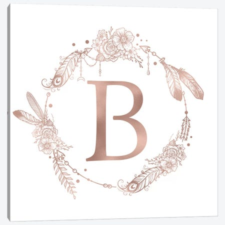 Rose Gold Monogram Letter B Pink Boho Bohemian Feather Floral Personalized Alphabet Initial On White Canvas Print #MGK114} by Nature Magick Canvas Print