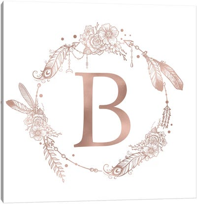 Rose Gold Monogram Letter B Pink Boho Bohemian Feather Floral Personalized Alphabet Initial On White Canvas Art Print