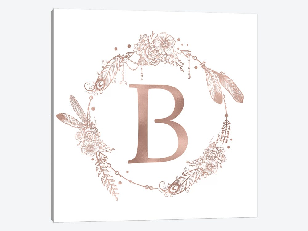 Rose Gold Monogram Letter B Pink Boho Bohemian Feather Floral Personalized Alphabet Initial On White by Nature Magick 1-piece Canvas Artwork